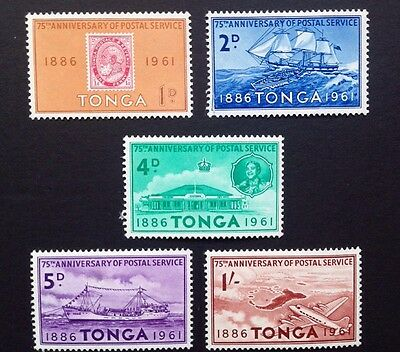 COMMONWEALTH -1961 TONGA 75th Anniv of Postal Service M/MINT Set(5) Stamps.