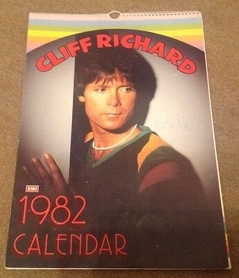 CLIFF RICHARD  -  1982 CALENDAR -  SIGNED   - 10 x 16 Inches   -  AUTHENTIC