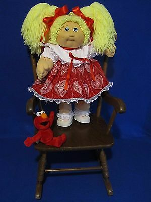 """Vintage 16"""" Cabbage Patch Kids Clothes Homemade Dress  Red And White Hearts"""