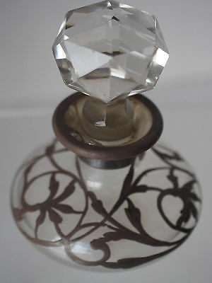 Antique 1900's Crystal Glass Sterling Siver Overlay Scent Perfume Vanity Bottle