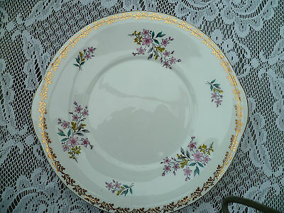 Pretty Vintage Royal Grafton English China Cake or Sandwich Plate Gilded Floral