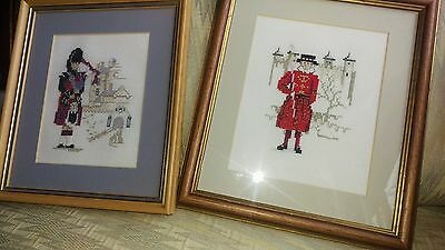pair of vintage scottish completed cross stitch