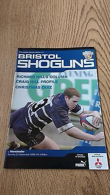 Bristol v Manchester Dec 2003 Rugby Union Programme