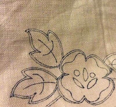 "Vintage 100% Linen Fabric ABC Chicago US 1930s 54""X54"" Cut out Tablecloth #4872"