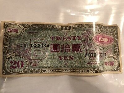 Vintage Military Currency Note 20 TWENTY YEN Paper Money Currency  Series 100