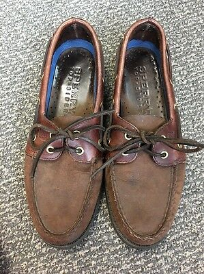 Men's 8.5 Sperry Topside Dark Brown Leather Boat Shoes