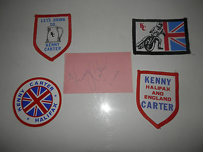 Kenny Carter Rare Speedway Newcastle,halifax  Badges And Signed Autograph
