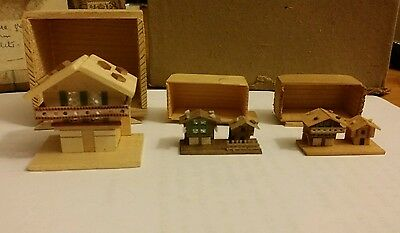3 x Vintage Swiss wooden chalets