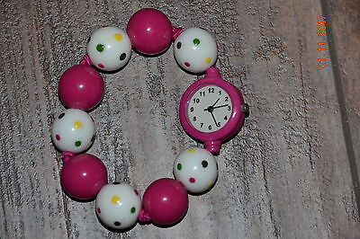 Girls Gymboree Pink And White  Beaded Stretch Bracelet Watch