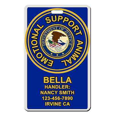 Service Dog emotional support animal BLUE ADA Badge Dog custom info dog cat ESA