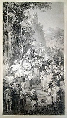 Religious procession. 1866. Old master / Drawing