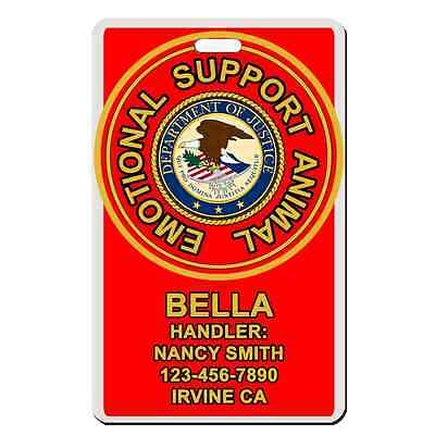 Service Dog emotional support animal RED ADA Badge Dog custom info dog cat ESA