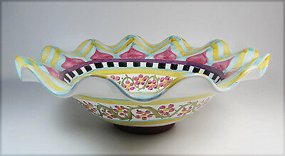 "Stunning Large MACKENZIE CHILDS Hitchcock Field Bowl - 18"" - NWT"