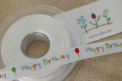 CGC97WH Beautiful WHITE /& GLITTER SILVER SATIN HAPPY BIRTHDAY Ribbon 15mm
