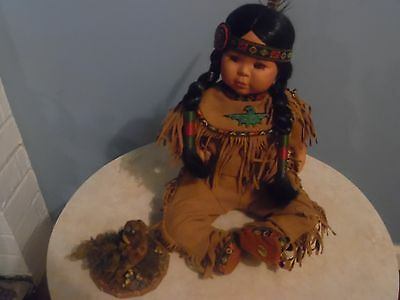 Danbury Mint Collection-Indian ? BABYDoll VINTAGE NO BOX /NO PAPERS & OWLPIECE