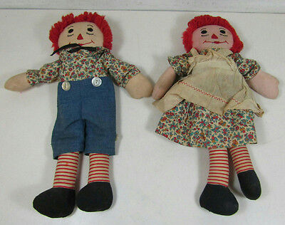 "Vintage Antique Raggedy Ann And Andy Dolls 16"" Tall- Handmade"