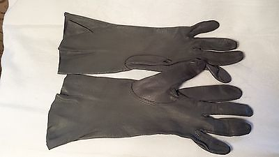 """Vintage Grey, GRAY LEATHER unlined GLOVES, Gun metal, 10"""" long, size 6.5, 6 1/2"""