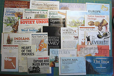 MAPS National Geographic LOT of 40 mixed world culture fold out inserts