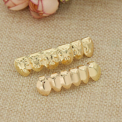 3D Leaves Hip Hop Teeth Top Bottom Grills Set Unisex Body Jewelry Golden New