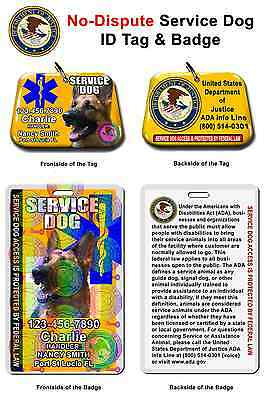 Service Dog ID Tag and Badge combo custom photo id for pet yellow
