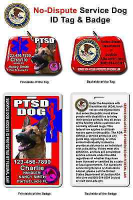 Service Dog ID Tag and Badge PTSD custom photo id for pet customized RED