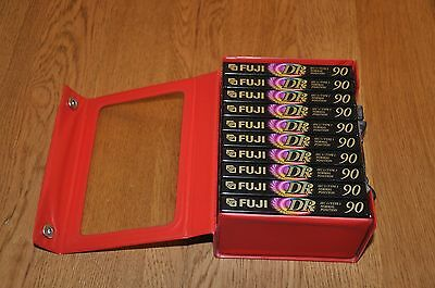 10 X New Fuji DR90 Audio Cassette Tapes and Cassette Carrying Case