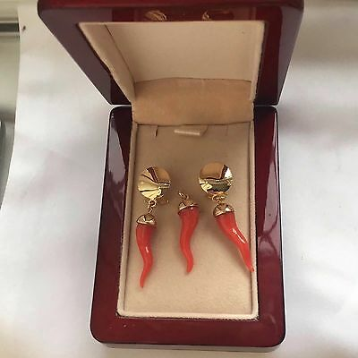italy hallmark 750 18k  gold and red coral horn of life earring,pendant-9.1g