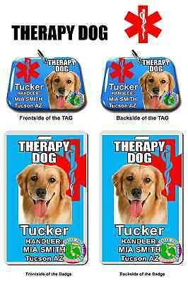 Service Dog ID Tag and Badge THERAPY DOG combo custom photo id for pet baby blue
