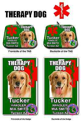Service Dog ID Tag and Badge THERAPY DOG combo custom photo id for pet green