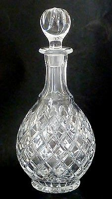 VINTAGE LEAD CRYSTAL glass decanter QUALITY diamond cut c1950 Original stopper