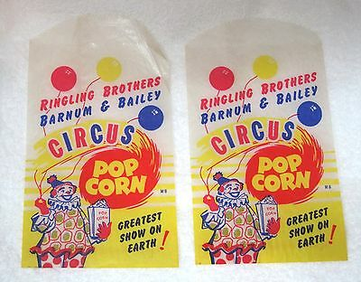 2 Vintage Ringling Brothers Barnum & Bailey Circus Pop Corn Bags Clown Waxed T25