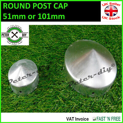 "Round Metal Fence Gate Post Cap Caps Flange 44mm to 101mm ""Pyramid"""