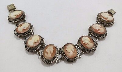 Cameo Bracelet with Crinolated Oval Mesh Panels by Wade, Davis & Co.- Ca. 1890's