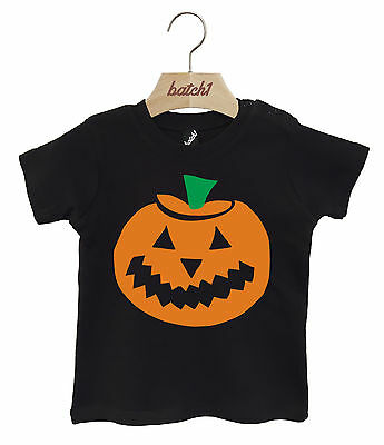 Batch1 Pumpkin Print Fancy Dress Party Halloween Popper Neck Baby T-Shirt