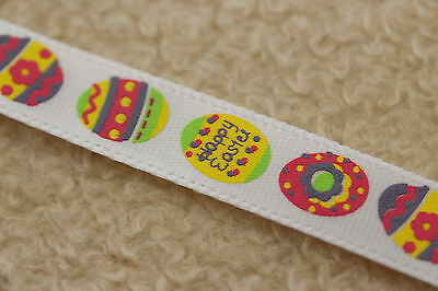 HAPPY EASTER EGG 10MM Single Sided Satin WHITE RIBBON 1m, 2m, 3m, 5m & 10m
