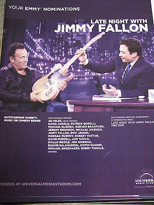 Late Night with Jimmy Fallen Bruce Springsteen with guitar  RARE  EMMY AD