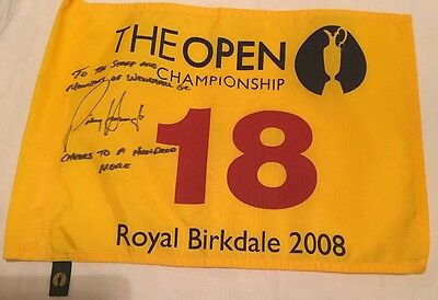 Signed Padraig Harrington OPEN Golf Championship Flag. Royal Birkdale 2008.