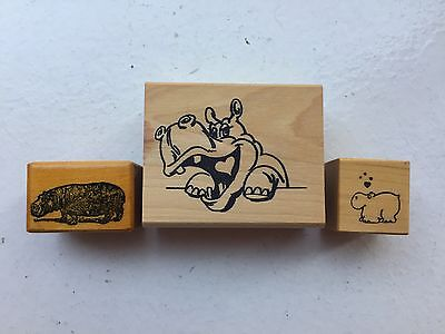 Lot Of Three Rubber Hippo Stamps