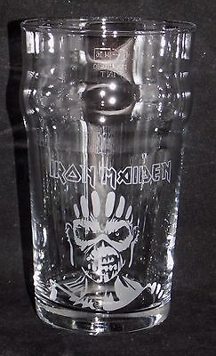 """New Etched """"IRON MAIDEN - BOOK OF SOULS PINT GLASS"""" - Fabulous Gift/Present"""