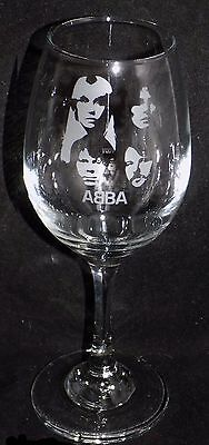 "New Etched ""ABBA WINE GLASS"" -You can purchase a gift box also- Great Gift Idea"