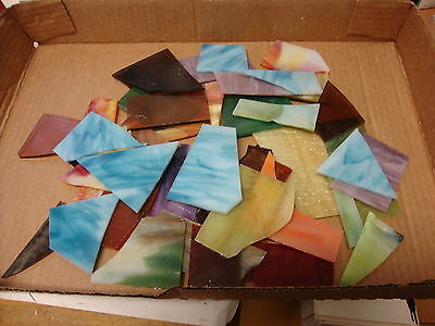 2 Lbs. Stained Glass Scraps For Mosaics Or Small Projects