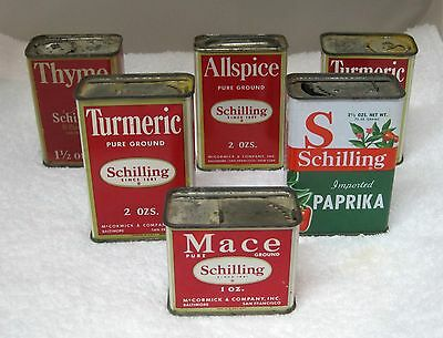Lot 6 Vintage Spice Tins Schillings 3 Styles 5 @ 2 0z 1 @ 1 Oz Kitchen Advertisi