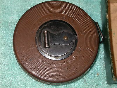 Vintage Lufkin Challenge 50 foot tape leather bound  with OKEH box