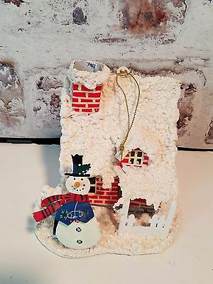 Christmas Ornament Snowed House w snowman 3D Lighted