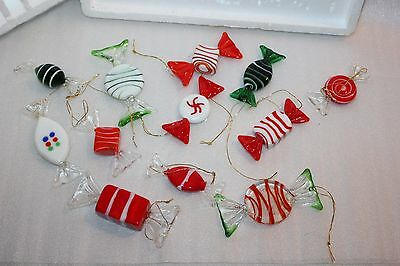 12 Venezia Crystal Art Hard Glass CANDY Piece Christmas Tree Ornaments Vintage