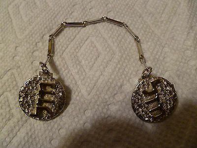 Vintage Sweater Clasp with Hebrew writing (Unusual & Pretty)  Silvertone