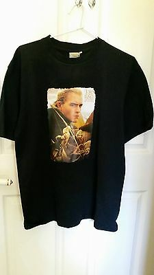 """Lord of the Rings, Return of the King, """"Legolas"""" Black T shirt, Size 14, Cotton"""