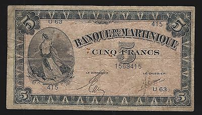 Martinique - ND (1942) 5 Francs Banknote (P-16b)