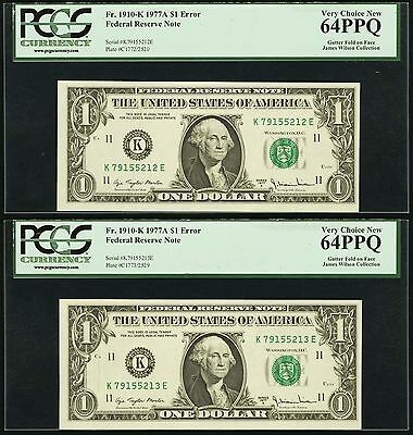 Fr. 1910-K $1 1977A Federal Reserve Note Consecutive Pair with Gutter Fold Error