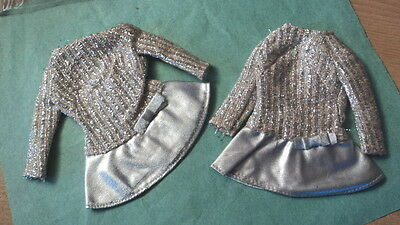 2- Barbie Silver Sparkle Dresses From Barbie Fan Club Of The 1960,s